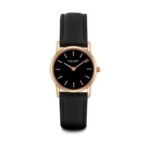 Czarny zegarek damski ze skórzanym paskiem i cyferblatem w kolorze różowego złota Eastside Elridge