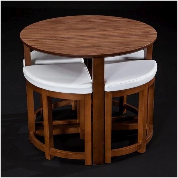 Stół z krzesłami Oval Walnut