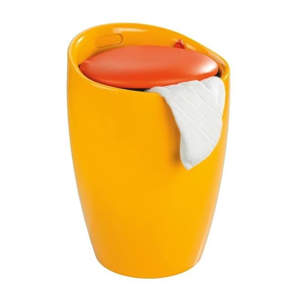Żółty kosz na pranie i taboret w jednym Wenko Candy, 20 l