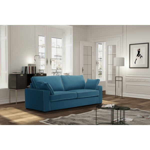 Sofa trzyosobowa Jalouse Maison Serena, niebieska