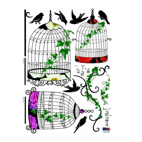 Zestaw naklejek Ambiance Birds in Baroque Cages