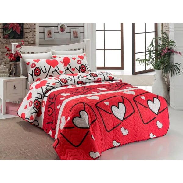 Lekka narzuta dwuosobowa z poszewką na poduszkę Lovestory Red, 200x220 cm