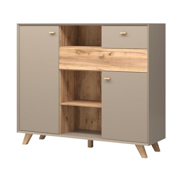 Szara komoda 2-drzwiowa z 2 szufladami z dekorem drewna dębowego Germania Calvi
