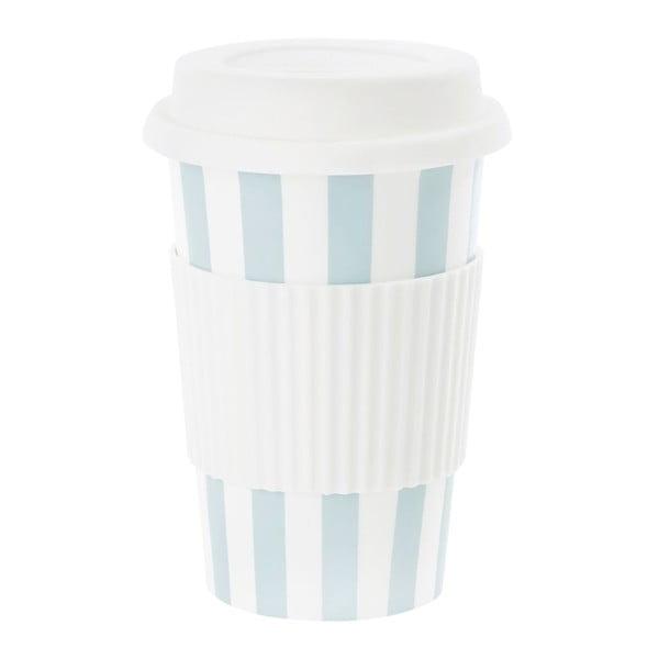 Ceramiczny kubek podróżny Stripe Turquoise, 0,5 l