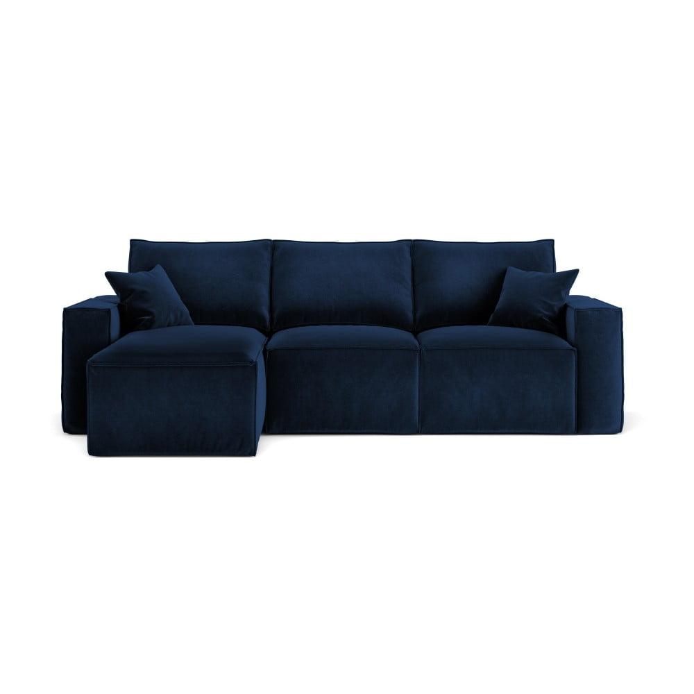 Ciemnoniebieska narożna sofa Cosmopolitan Design Florida, lewostronna