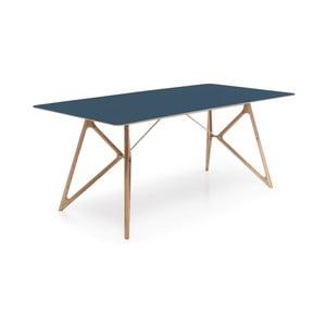 Stół dębowy do jadalni Tink Linoleum Gazzda, 160cm, niebieski