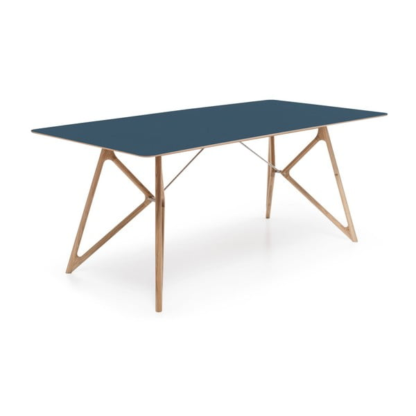 Stół dębowy do jadalni Tink Linoleum Gazzda, 180cm, niebieski