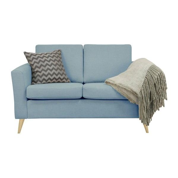Niebieskoszara sofa 2-osobowa z naturalnymi nogami Helga Interiors Alex