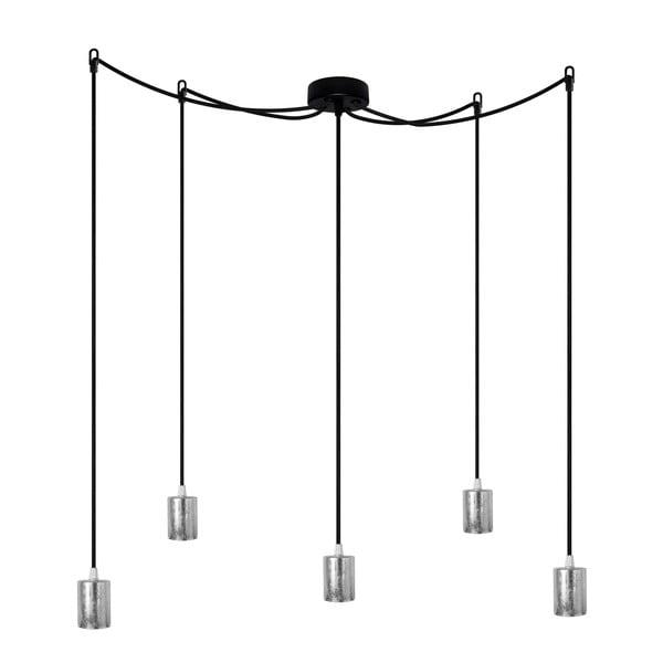 Czarna pięcioramienna lampa wisząca ze srebrną oprawką Bulb Attack Cero