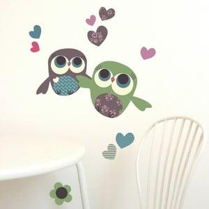 Naklejka wielokrotnego użytku Owls Mini, 30x21 cm