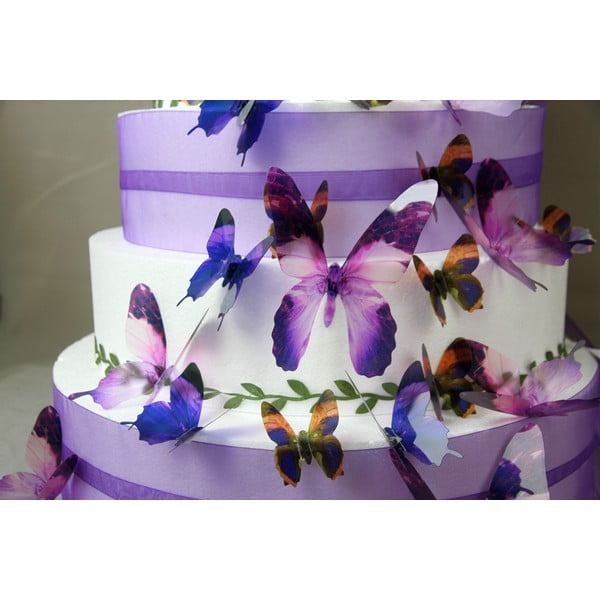 Zestaw 18 naklejek elektrostatycznych 3D Fanastick Butterflies Purple