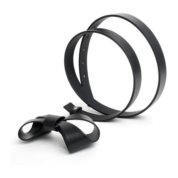 Skórzany pasek 3D czarny, 80-90 cm