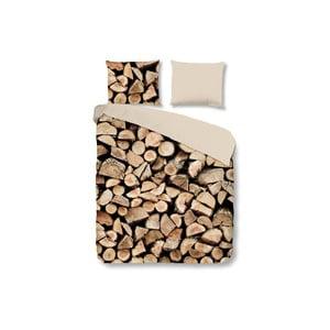 Brązowa pościel Muller Textiel Wood, 140x200 cm