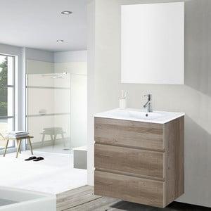 Szafka do łazienki z umywalką i lustrem Nayade, motyw dębu, 60 cm
