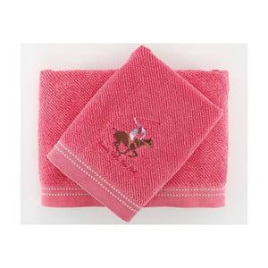 Komplet 2 ręczników BHPC 50x100 + 80x150 cm, różowy