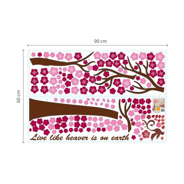 Naklejka na ścianę Walplus Huge Pink Tree with Fairies