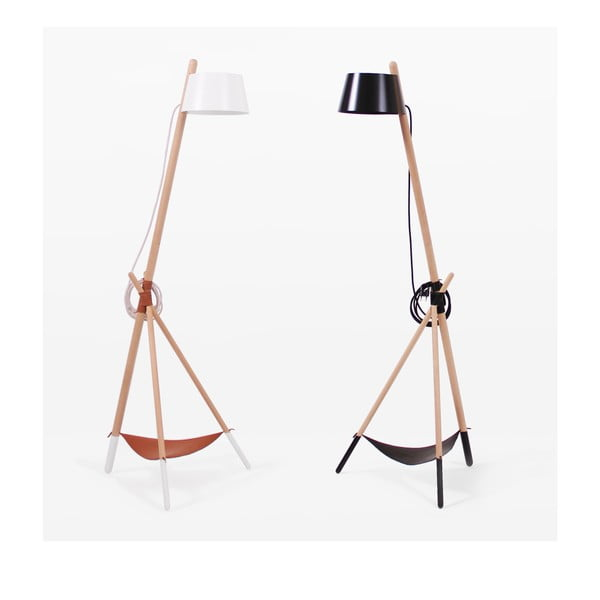 Czarna lampa stojąca ze skórzaną półeczką Woodendot Ka M