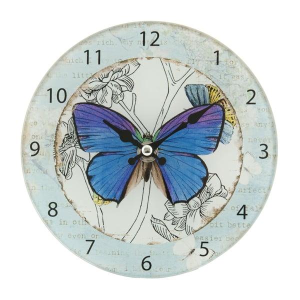 Zegar naścienny Blue Butterfly, 17 cm