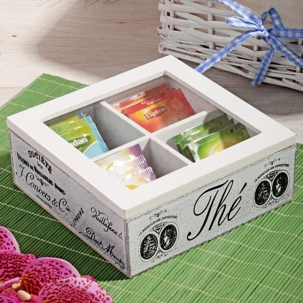 Bambusowe pudełko na herbatę z 4 przegródkami Division