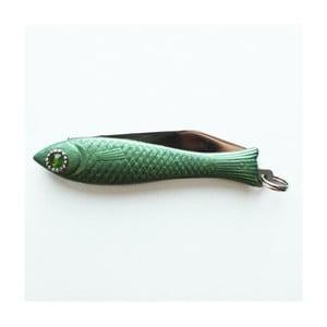 Scyzoryk rybka, zielony lakier z kryształowym okiem