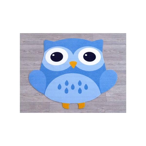 Niebieski dywan dziecięcy Sowa, 66x66cm