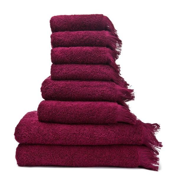 Zestaw 8 bordowych ręczników i ręczników kąpielowych Casa Di Bassi Bath