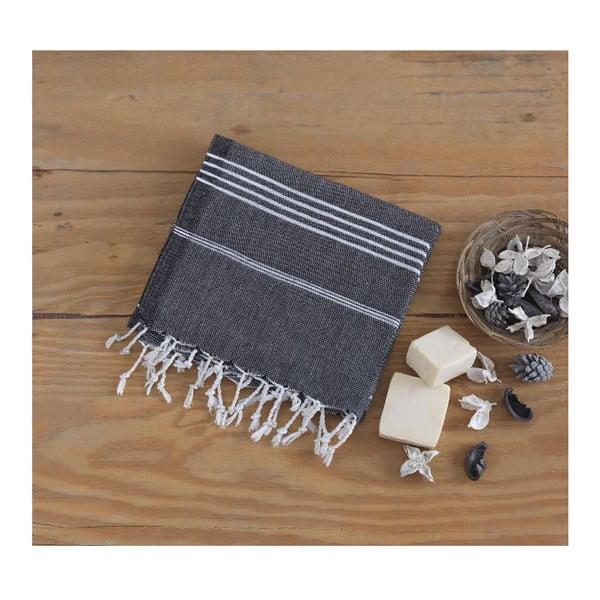 Czarny ręcznik Hammam Sultan, 100x180 cm