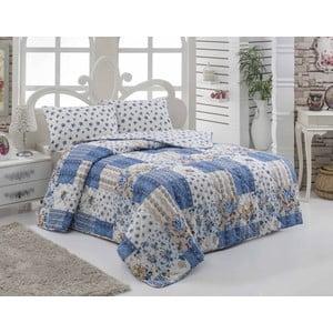 Narzuta pikowana i 2 poszewki na poduszkę Maxima Blue, 200x220 cm