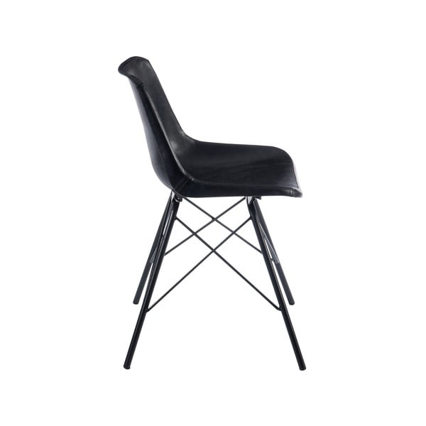 Krzesło   ze skórzanym obiciem Cross, czarne