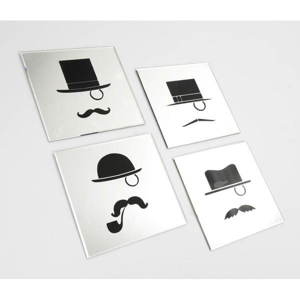 Zestaw 4 luster Moustache, 35x35 cm