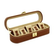 Brązowy kuferek na 5 zegarków Friedrich Lederwaren Cordoba