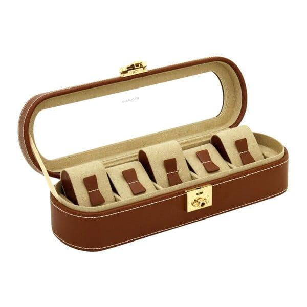 Brązowe pudełko skórzane na 5 zegarków Friedrich Lederwaren Cordoba