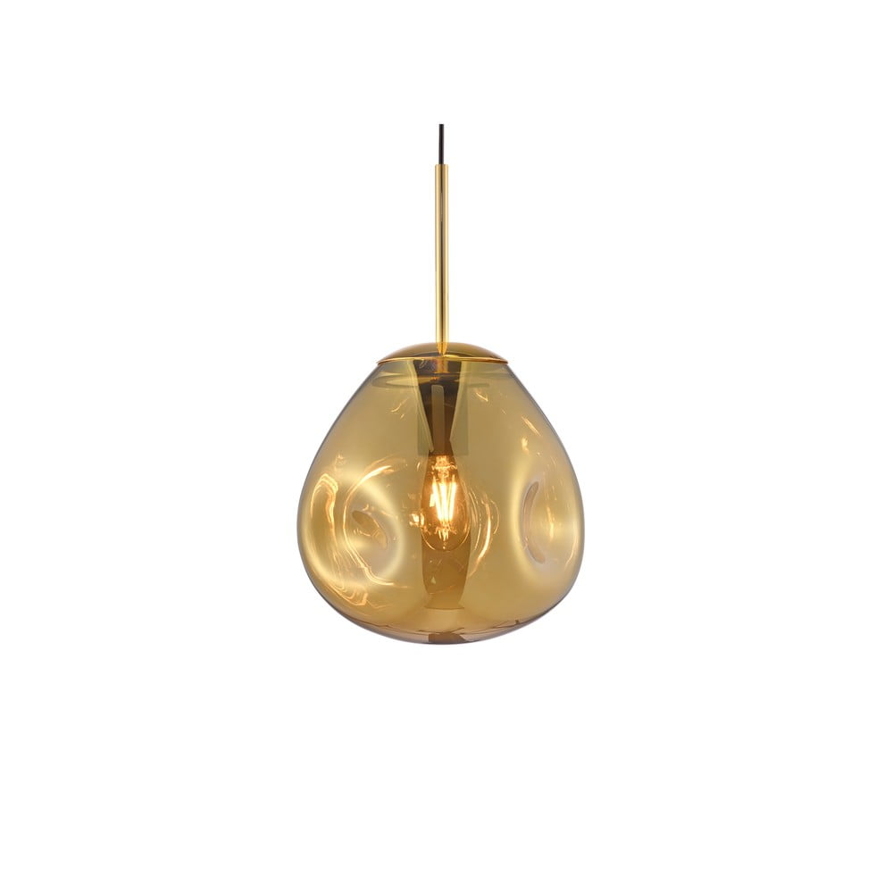 Lampa wisząca z dmuchanego szkła w kolorze złota Leitmotiv Pendulum, wys. 20 cm