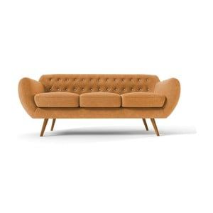 Żółta   sofa trzyosobowa z jasnobeżowymi guzikami Wintech Indigo