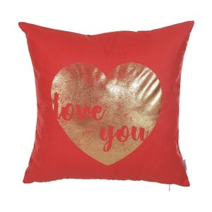 Czerwona poszewka na poduszkę Apolena Shimmering Heart, 45x45 cm