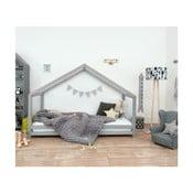 Szare łóżko dziecięce z lakierowanego drewna świerkowego Benlemi Sidy, 70x160 cm