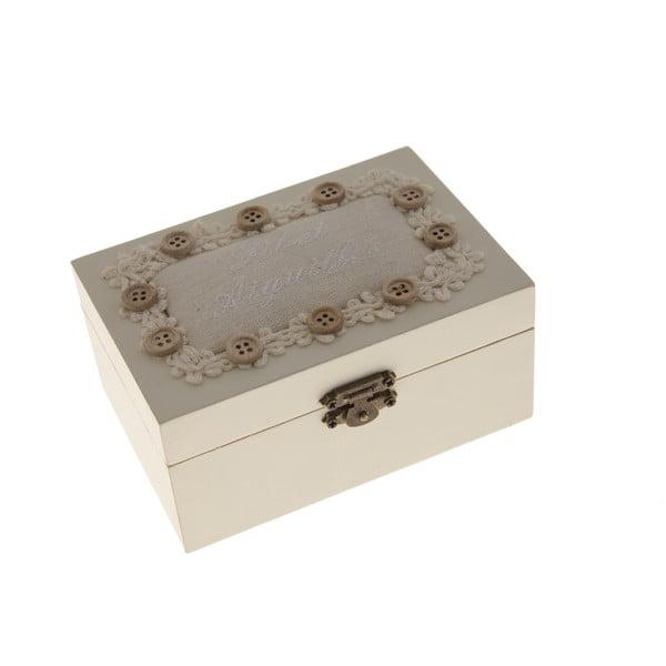 Drewniane pudełko na przybory do szycia Antic Line Buttons