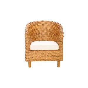 Ratanowy fotel Omni, jasny
