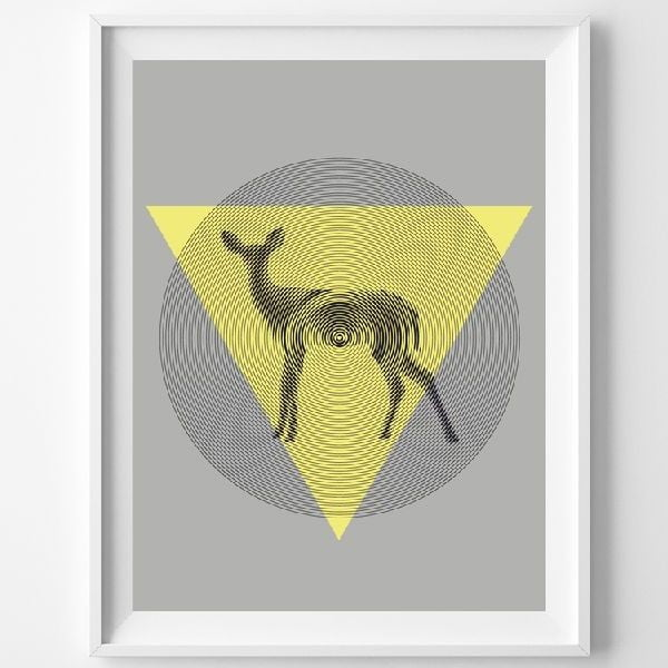 Plakat Deer In Triangle, A3