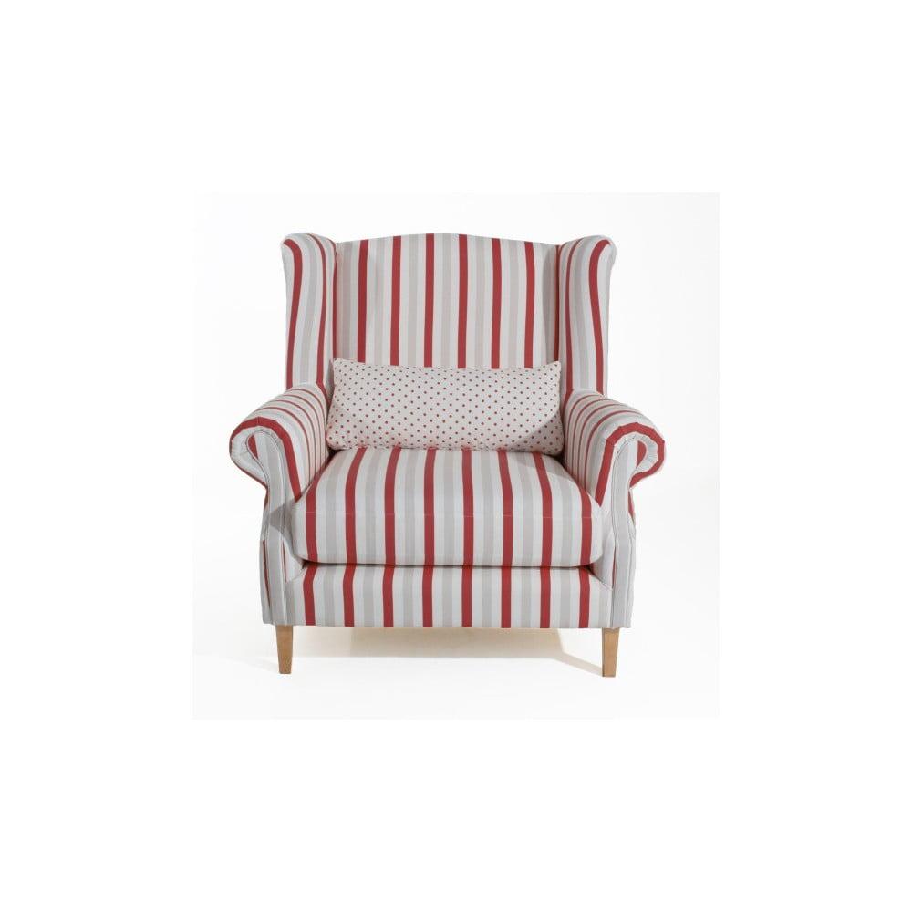 Czerwony fotel w paski Max Winzer Harvey