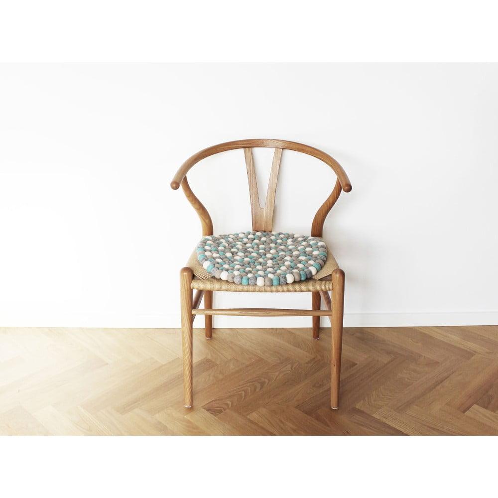 Jasnoniebieska wełniana kulkowa poduszka na krzesło Wooldot Ball Chair Pad, ⌀ 39 cm