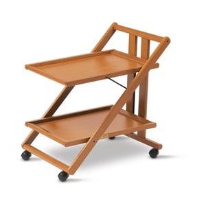Brązowy stolik barowy z drewna bukowego na kółkach Arredamenti Italia Gimmy