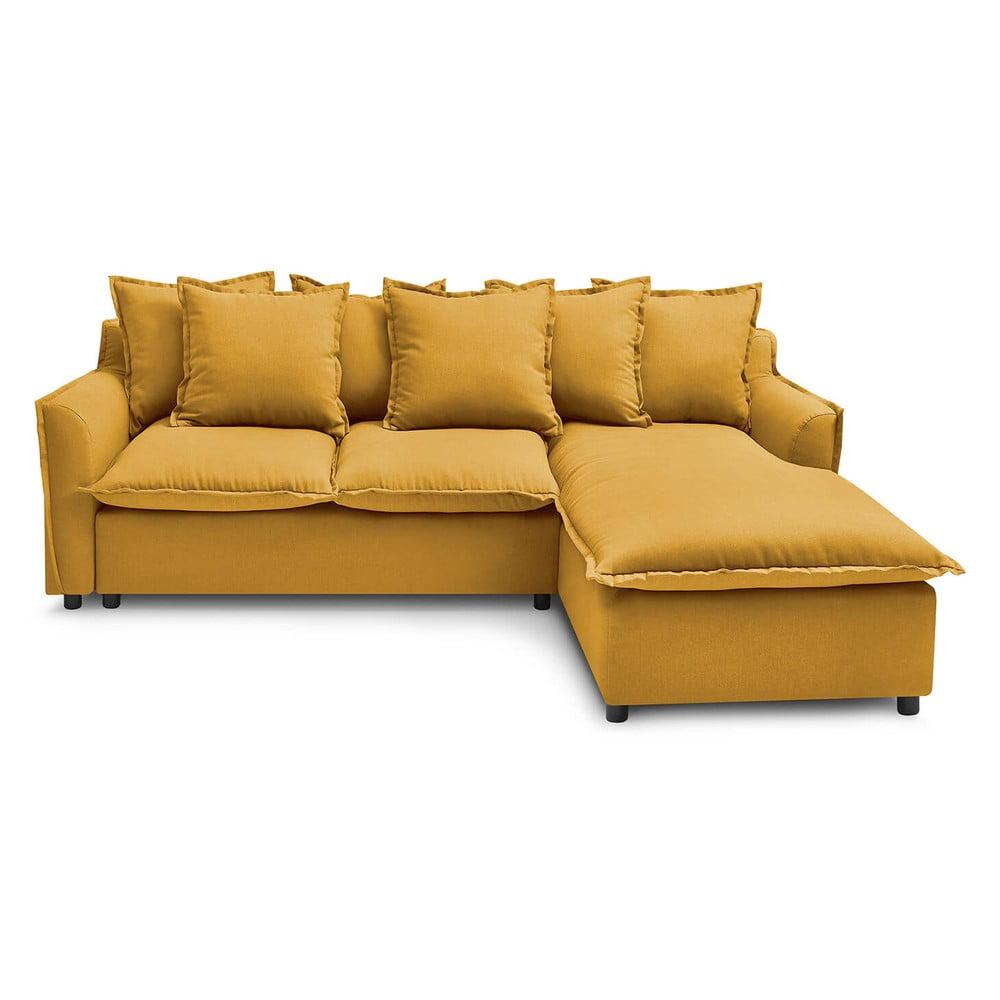 Żółta sofa rozkładana Bobochic Paris Mona, prawostronna