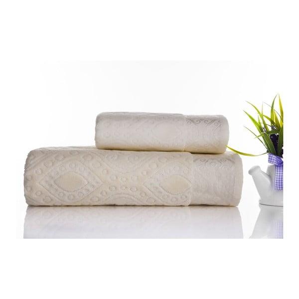 Zestaw 2 ręczników Sal Ecru, 50x90 cm i 70x140 cm