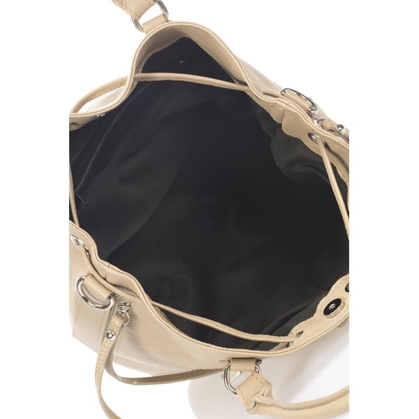 Torebka skórzana Bucketino, szarobeżowa (taupe)