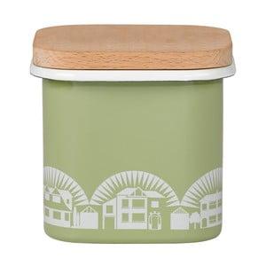 Zielony emaliowany pojemnik z wieczkiem z bukowego drewna Mini Moderns