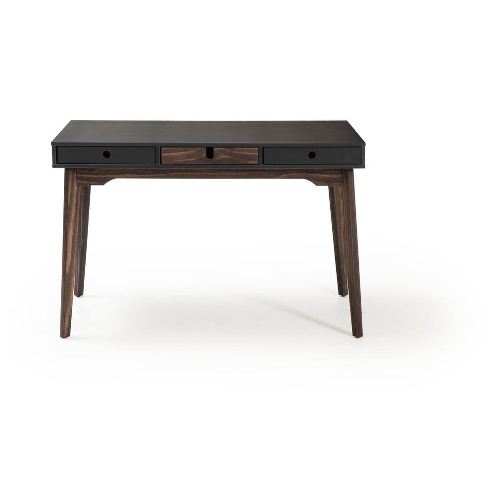 Szare biurko z nogami z drewna sosnowego Marckeric Kiara
