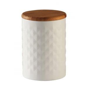 Biały pojemnik z drewnianą przykrywką Typhoon Pyramid