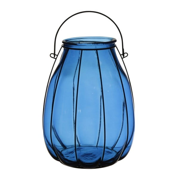 Lampion Ecoglass Blue, 22x22x32 cm