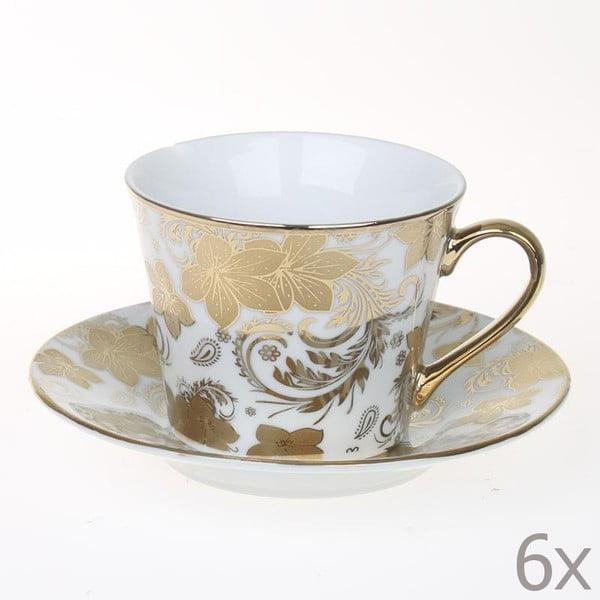 Zestaw filiżanek Tea Gold Flowers, 6 sztuk